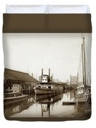 T.c. Walker Paddle Riverboat City Of Stockton Riverboat And Kath Duvet Cover