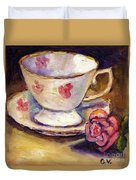 Tea Cup With Rose Still Life Grace Venditti Montreal Art Duvet Cover