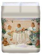 Tea In The Rose Garden Duvet Cover