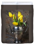 Tea Pot And Tulips Duvet Cover