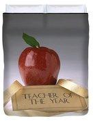 Teacher Of The Year Award Poster Duvet Cover