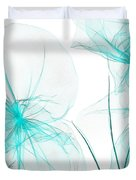 Teal Abstract Flowers Duvet Cover