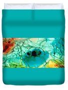 Teal Aqua Art - Connected - Sharon Cummings Duvet Cover