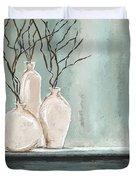 Teal Elegance - Teal And Gray Art Duvet Cover
