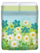 Teal Flowers And Daisies Duvet Cover
