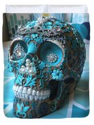 Teal Gem Art Skull Duvet Cover