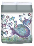 Teal Hearted Peacock Watercolor Duvet Cover