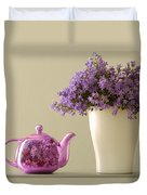 Teapot And Flowers In A Vase Duvet Cover