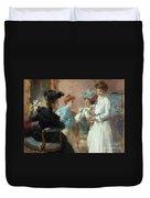 Teatime In My Living Room In Via Senato Duvet Cover
