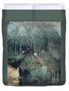 Technical Diver In Cave System, Mexico Duvet Cover
