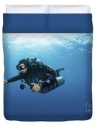 Technical Diver With Equipment Swimming Duvet Cover