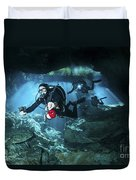 Technical Divers Enter The Cavern Duvet Cover by Karen Doody