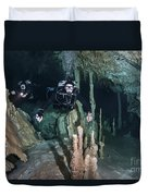 Technical Divers In Dreamgate Cave Duvet Cover