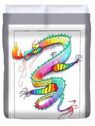 Technicolor Dragon -- Rainbow-colored Whimsical Dragon  Duvet Cover