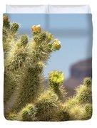 Teddy Bear Cholla Cactus With Flower Duvet Cover