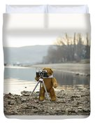 Teddy Bear Taking Pictures With An Old Camera By The Riverside Duvet Cover