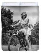 Teeng Girl Riding Bike On Sidewalk Duvet Cover