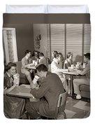 Teens At A Diner, C. 1950s Duvet Cover