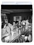 Teens At Soda Fountain Counter, C.1950s Duvet Cover