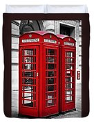 Telephone Boxes In London Duvet Cover