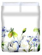 Template For Card With Decorative Wild Flowers Duvet Cover