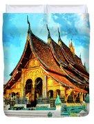 Temple In Laos Duvet Cover