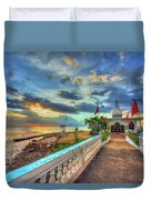 Temple In The Sea Duvet Cover