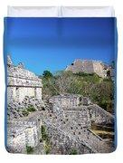 Temples In Ek Balam Duvet Cover