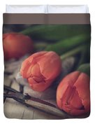 Tending The Tulips Duvet Cover
