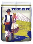 Tenerife, Canary Islands, Couple In Traditional Costumes Duvet Cover