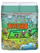 Tennessee Usa Cartoon Map Duvet Cover