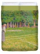 Tennis At Hertingfordbury Duvet Cover by Spencer Frederick Gore