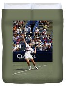 Tennis Serve Duvet Cover by Sally Weigand