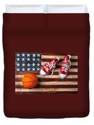 Tennis Shoes And Basketball On Flag Duvet Cover