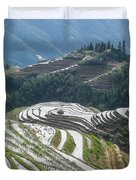 Terrace Fields Scenery In Spring Duvet Cover