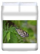 Terrific Capture Of A Paper Kite Butterfly On A Leaf Duvet Cover