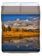 Teton Fall Foliage And Fog Duvet Cover