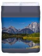 Teton Mountains Reflection Duvet Cover