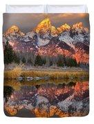 Teton Mountains Sunrise Rainbow Duvet Cover