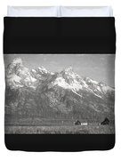 Teton Range Charcoal Sketch Duvet Cover