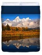 Teton Snow Cap Reflections Duvet Cover