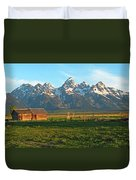 Tetons And Cabin Duvet Cover