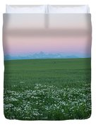 Tetons With Daisies Duvet Cover