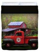 Texaco Truck On A Smoky Mountain Farm In Colorful Textures  Duvet Cover