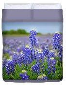 Texas Blue - Texas Bluebonnet Wildflowers Landscape Flowers  Duvet Cover