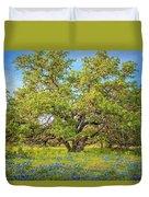 Texas Bluebonnets Under A Giant Oak Tree Duvet Cover