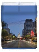 Texas Capitol And The Paramount From Congress Duvet Cover
