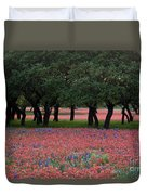 Texas Live Oaks Surrounded By A Field Of Indian Paintbrush And Bluebonnets Duvet Cover
