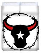 Texas Longhorn Barbed Wire Icon Duvet Cover