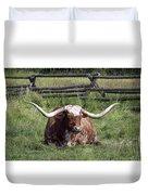 Texas Longhorn Bull At Rest Duvet Cover